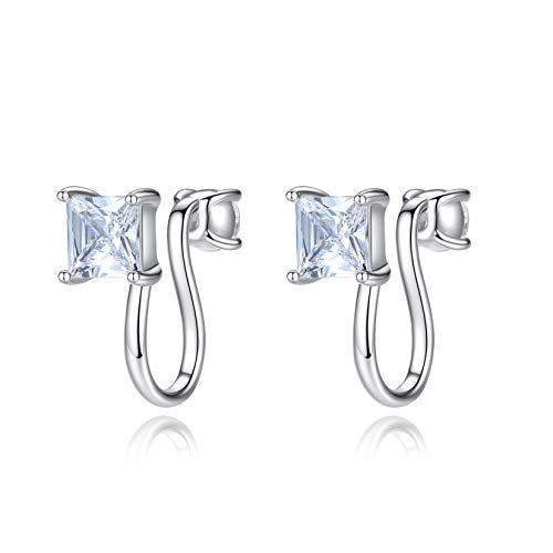 VIKI LYNN 925 Sterling Silver Cubic Zirconia Clip-ON Earrings Not Pierced Ear Cuff Jewelry for Women Girls