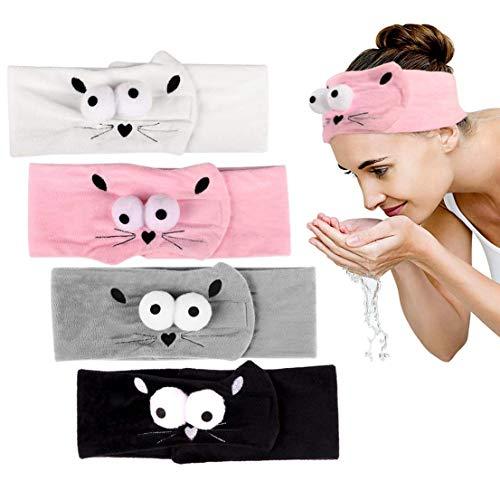 LHKJ 4 stuks Spa badstof haarband hoofdband cosmetische hoofdband make-up haarband sport en gezicht wassen elastische hoofdbanden