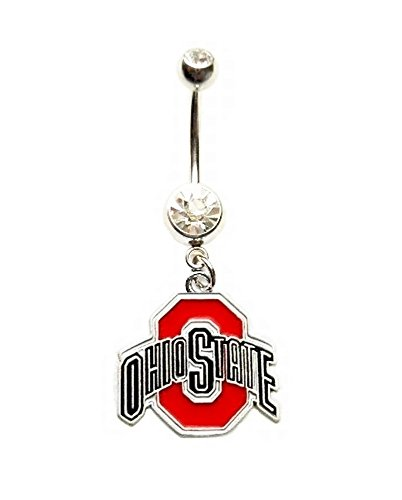 OSU OHIO STATE UNIVERSITY BUCKEYES Clear Navel Belly Button Ring Body Jewelry Piercing