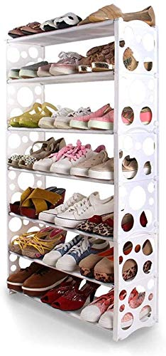 Rack de zapatos de plástico, ahorro de espacio Rack de almacenamiento duradero multiusos, almacenamiento de entrada de 7 niveles Zapatos de uso diversificado Estante 60x19x102cm (24x7x40 pulgadas) 121