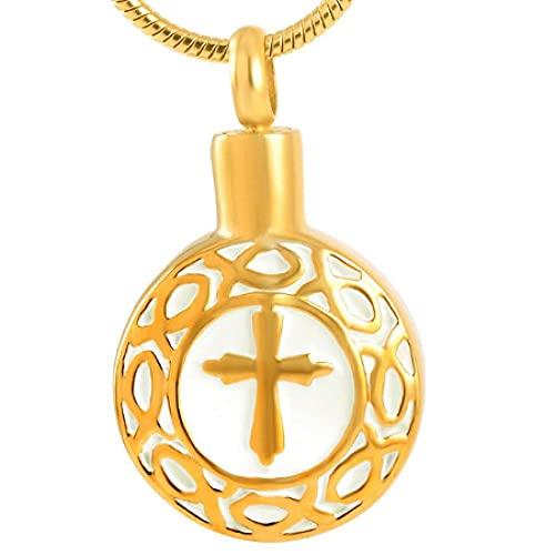 MITIAN Collar de joyería de ceniza, cruz de acero inoxidable al por mayor de la urna conmemorativa redonda recuerdo cremación colgante para mujer hombre