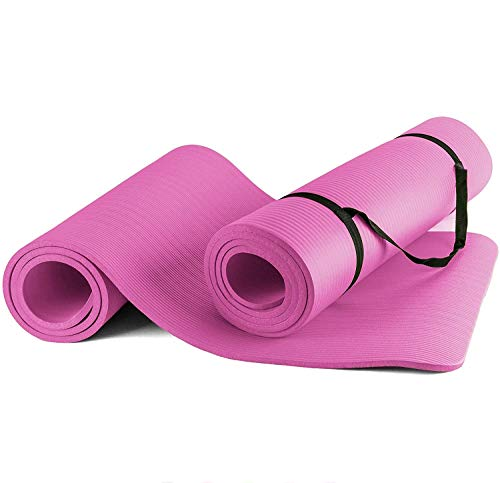 BigDean Yogamatte blau Gymnastikmatte Sportmatte für Yoga Pilates Fitness & Gymnastik mit Tragegurt rutschfest + gelenkschonend Maße 180x80x1cm Stärke 1 cm