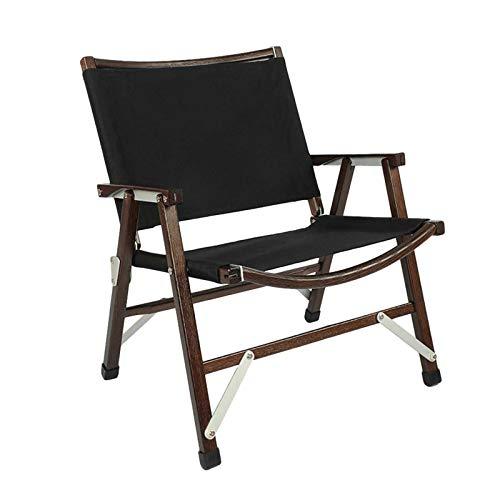 Silla plegable para exteriores, portátil, desmontable de haya, con bolsa de almacenamiento, para camping, jardín, senderismo, picnic, color negro
