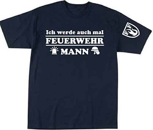 Feuer1 T-shirt pour enfant Navy avec blason FF, blanc 152 cm bleu marine
