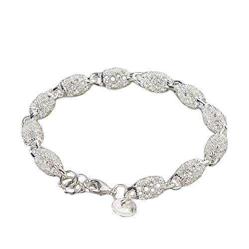 Aland Womens 925 Sterling Silver Hollow Chain Bracelet Charm Wrist Bangle Clasp Gift