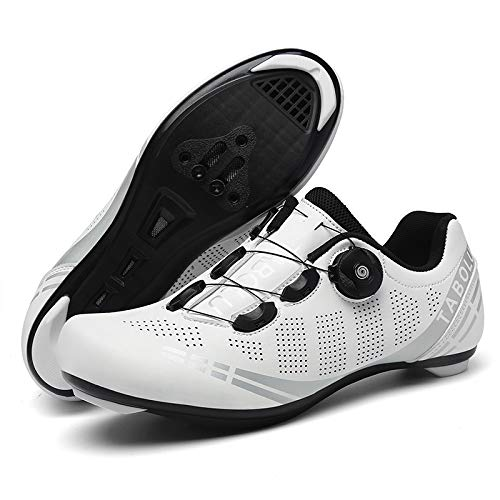 KUXUAN Calzado de Ciclismo Al Aire Libre Bicicletas de Carretera Calzado con Candado Calzado de Bicicleta Bicicletas de Montaña para Hombres y Mujeres,White-11UK=(275mm)=45EU