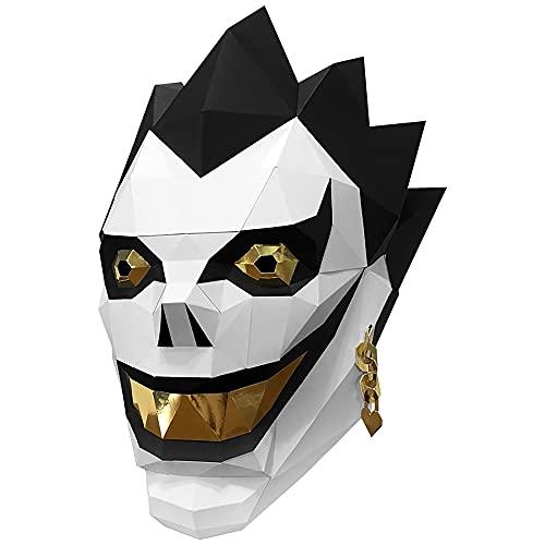 Athak Todesnotiz Ryuk Kopf Papercraft DIY 3D Origami Kopfbedeckung Maske Tier Cosplay Weihnachten Osterfeier Prom Requisiten Geschenk Familiendekoration