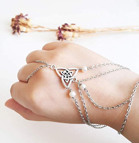 Celtic hand chain - Hand harness Slave bracelet