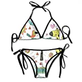 Bikini Pattern with Jungle Animals In Scandinavian Style Eps Bikini Set Two Piece,Triangle Padded Cut out Swimsuit for Ladies Swimming Costume