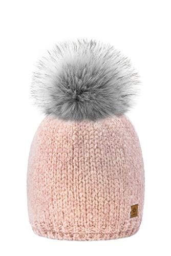 MFAZ Morefaz Ltd Mütze Damen Winter Beanie Wurm Strickmütze Wolle Fleece Bommel Pom...