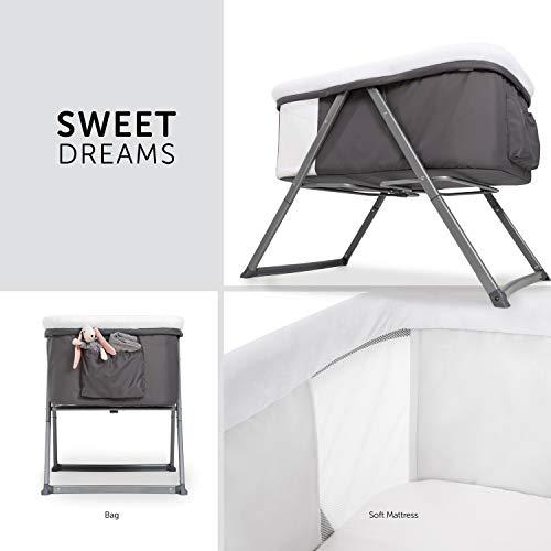 Hauck Dreamer Babywiege/Stubenwagen/Beistell-/Reisebett, inkl. Matratze und Spielzeugtasche, mit Schaukelfunktion, faltbar, klappbar und tragbar, Grau - 3