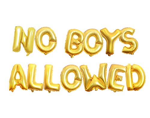 AnnoDeel 16inch NO BOYS ALLOWED Foil Balloons Banner, Gold Letter Mylar Balloon for Women Bride Bacheloretter Banner Party Decoration