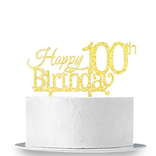 INNORU Happy 100th Birthday Cake Topper - Gold Acrylic 100th Birthday Party Decoration Supplies