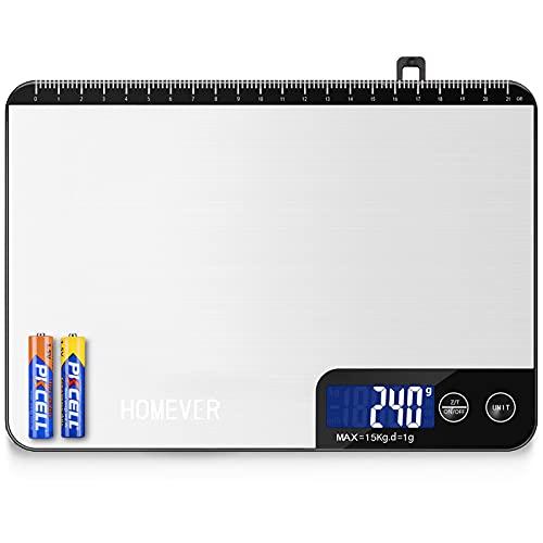 HOMEVER Waage Küchenwaage-Tasten modelle, Küchenwaage Digital 15KG, Digitalwaage mit Tastensensitiv, Linealfunktion, auf 1g/0.1oz Präzise Messung(Batterien enthalten)