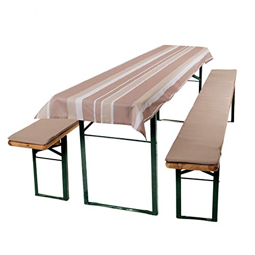 ESTEXO® Home & Garden 3-delige kussenset voor biertafelsets, bierbankkussen, zitkussen, biertentgarnituur, tafelkleed taupe