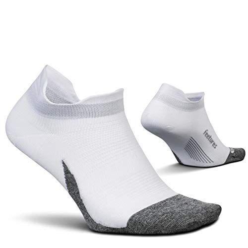 Feetures - Elite Ultra Light - No Show Tab - Athletic Running Socks for Men and Women - White - Size Medium