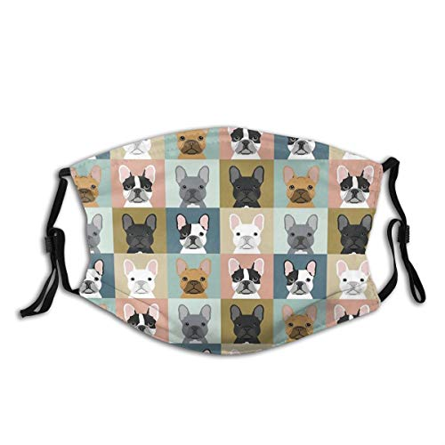 French Bulldog Portraits Pattern Dog Person Gift Love Animal Pet Puppy Frenchie Bulldog Valentines Throw Pillow Face Mask Bandana Headwear