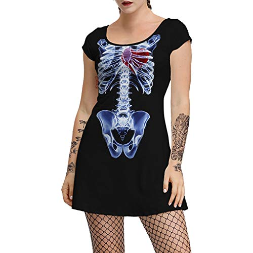 Gothic-Kleid für Damen, kurzärmlig, Totenkopf-Print, Tops – Damen Punk Hemd Kleid Harajuku O-Ausschnitt, lockeres schwarzes T-Shirt, Mode Halloween Kostüm für Party Gr. XL, blau