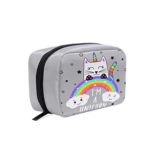 CAT Licorne Animal Sac de maquillage trousse de toilette Sac de voyage Coque pour femme, Rainbow étoiles Cloud étui de rangement organiseur portable Sacs Box