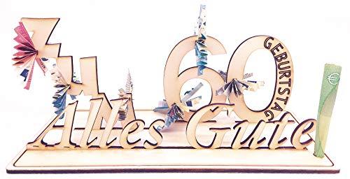 Geldgeschenk, 60. Geburtstag, Holzzahl, Glückwunsch, Alles Gute zum Geburtstag