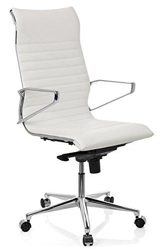 hjh OFFICE 720024 Profi Chefsessel PARIBA I Leder Weiß Design-Stuhl Bürostuhl ergonomisch geformt, hohe Rückenlehne