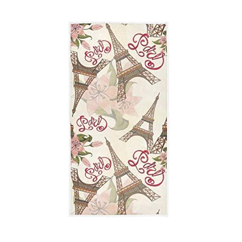 Asciugamani da Bagno per Ospiti Altamente assorbenti Motivo Floreale a Mano Torre Eiffel Parigi Londra per Bagno di casa Spa Hotel Palestra Lettera Decorativa 40X70CM