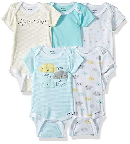 Gerber Baby Boys' 5-Pack Variety Onesies Bodysuits, Clouds, Newborn