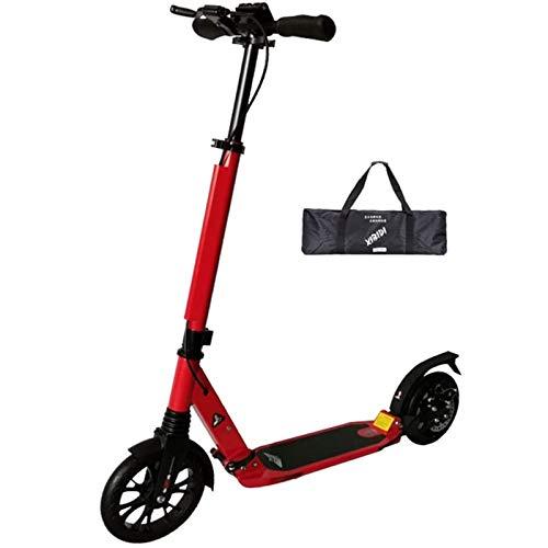 Kick Scooter Load 200 Kg Para Adultos Adolescentes Hombres Mujeres, Scooter De 200 Mm De Ruedas Grandes Con Frenos De Disco, Scooter De Cercanías Plegable De Doble Suspensión Con Bolsa(Size:rojo)