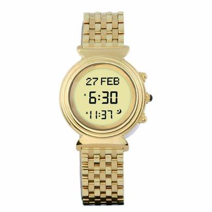 ALFAJR, Islamic Watch & Clock 6281106031400 - Orologio da polso, cinturino in acciaio inox colore oro
