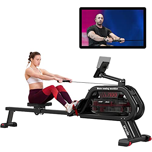 SNODE Water Rowing Machine with Bluetooth APP, Home use Water Resistance Rower Machine 331 lbs Capacity, Water Row Machine Home use with LCD Monitor and Pad Holder