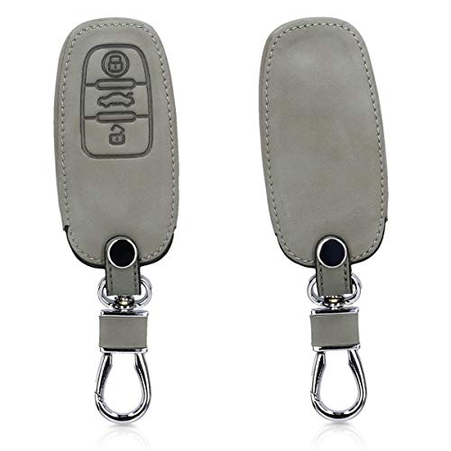 kwmobile Autoschlüssel Hülle kompatibel mit Audi - Nubuklederoptik - Kunstleder Schutzhülle Schlüsselhülle Cover kompatibel mit Audi 3-Tasten Autoschlüssel Keyless - Grau