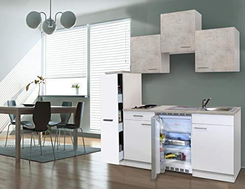 respekta Küche Miniküche Singleküche Küchenzeile Einbauküche 180 cm weiß Beton