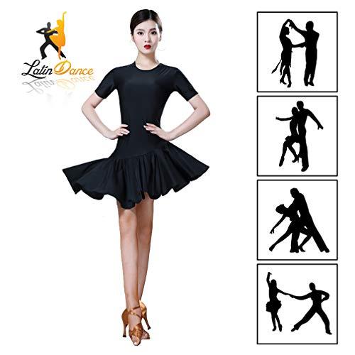 YIXIJIE Dames Jurk, Latijnse Dans Kostuum, Plissé Rok, Cha Cha Tango Ballroom Kostuum Kant Rumba