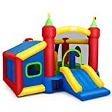 HONEY JOY Inflatable Bounce House, Jumping Castle with 100 Balls, Slide, Dart Target, Carry Bag, Air Bouncer for Kids Indoor Outdoor Play (Without Blower)