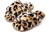 Cross Band Slippers, Women Soft Plush Furry Cozy Open Toe House Shoes Indoor Outdoor Non Slip Bedroom Slippers Leopard Brown 9-10