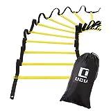 LICLI ラダー トレーニング 野球 サッカー 5m 7m 9m プレート 9枚 13枚 21枚 収納袋付き 3カラー LICLI 「 連結可能 スピードラダー 」「 瞬発力 敏捷性 アップ 」「 フットサル テニス 練習 」 トレーニングラダー ladder (イエロー, 7m)