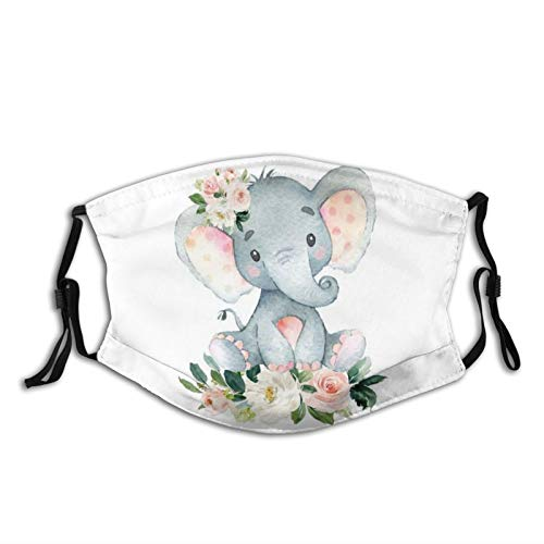 LAIPUTER Blush Cute Pink Floral Elephant Fashion Face Mask With Filter Pocket Washable Face Bandanas Dust-Proof Balaclava Reusable Fabric Mask For Men Women