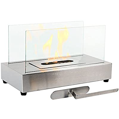 Regal Flame Avon Ventless Indoor Outdoor Fire Pit Tabletop Portable Fire Bowl Pot Bio Ethanol Fireplace in Stainless Steel - Realistic Clean Burning Like Gel Fireplaces, or Propane Firepits