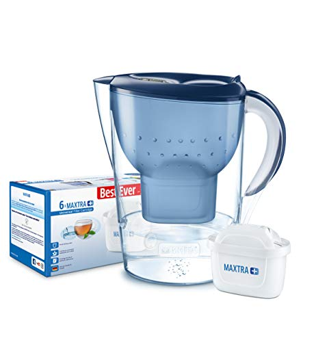 BRITA Marella XL Water Filter, Compatible MAXTRA+ Cartridges, Water Filter that Helps with the Reduction of Limescale and Chlorine, Blue MAXTRA 6 pack water filters