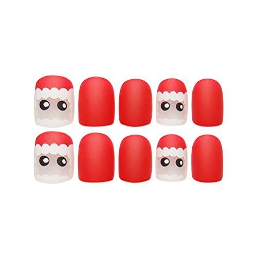 Frcolor 24 uñas postizas de Navidad de cobertura completa de uñas falsas muñeco de nieve uñas decoración de...