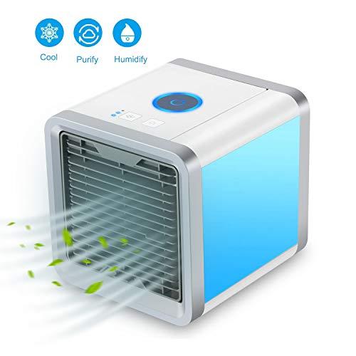 Aire Acondicionado Móvil, 3-en-1 Mini Ventilador Humidificador Purificador de Aire Personal USB Climatizador Portátil [Sin Freón] para Casa/Oficin