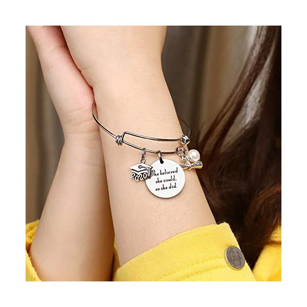 M MOOHAM Graduation Gifts, Teacher Gifts, 26 Initial Charm Bracelets Gifts for Teacher and Graduate