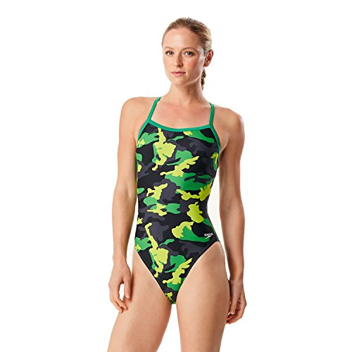 Speedo 7719834 Women's Camo Squad Flyback Prolt One Piece, Green - 30