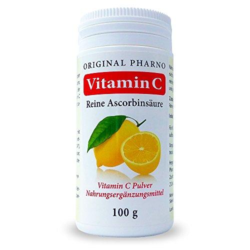 Vitamin C - Reine Ascorbinsäure - Apotheken Qualität 1 x 100 g | 1 Dose [Original-Pharno]