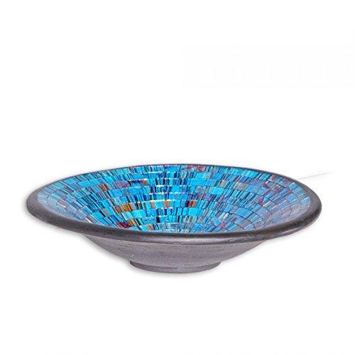 Dekoschale UBUD rund mit Glas-Mosaiksteinen L / Durchmesser 36cm blau / schwarz