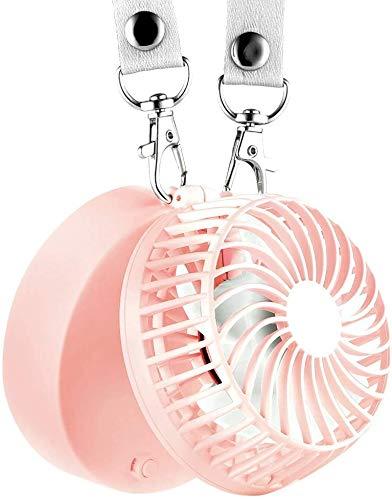 ZGHOME Handheld Halskette Fan Mini tragbarer Außenventilator mit 2600 mAh Akku 6-18 Arbeitsstunden Handfläche und 3 Einstellen der 180 ° -Drehung für Zuhause und Reisen,Rosa