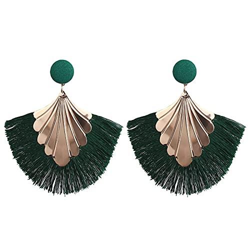 Rongxin Bohemia - Pendientes de borla con forma de abanico para mujer, pendientes con flecos y estilo vintage (color metálico: verde)