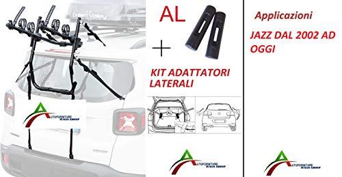 Fietsendrager gemonteerd en gebruiksklaar (3 fietsen) voor achterklep of kofferbak met zij-adapter voor auto's speciaal voor Jazz vanaf 2002 tot nu.