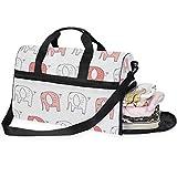 Buyxbn - Bolsa de deporte con compartimento para zapatos, tamaño extragrande, diseño de elefante, color blanco