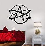 Stickers Muraux 64X57 Cm Vinyle Autocollant Mural Athéisme Symbole Atome Science Athée Art Autocollant Bureau École Salle De Classe Murale
